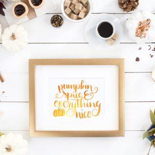 Watercolor Pumpkin Spice Quote Print