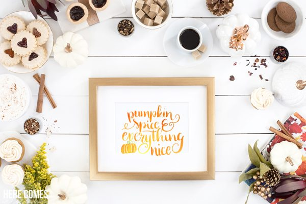 This watercolor pumpkin spice quote print is perfect for your fall decor. Free download. Just print and place in frame!