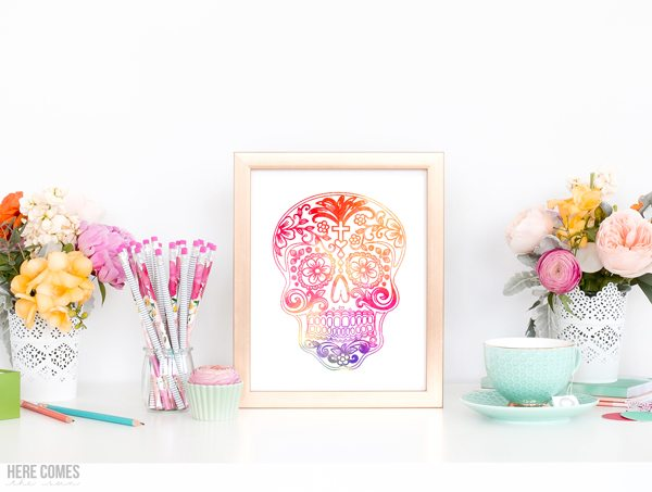 Download this Day of the Dead sugar skull print to create your own colorful decor. Comes in a watercolor and coloring page version.