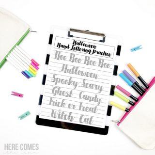 Halloween Hand Lettering Practice Sheet