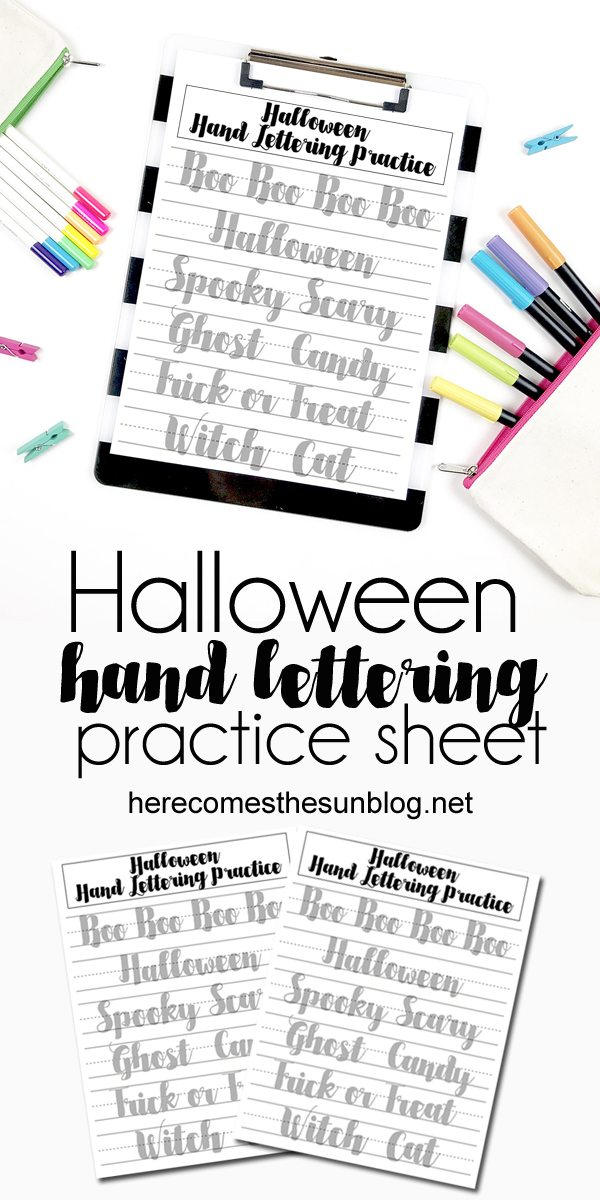 This Halloween hand lettering practice sheet is perfect for beginners and all levels.