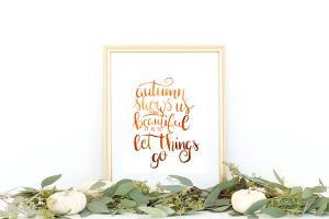 Hand Lettered Autumn Watercolor Print
