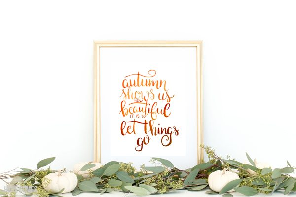 This hand lettered autumn watercolor print is full of vibrant colors that will look beautiful with your fall decor