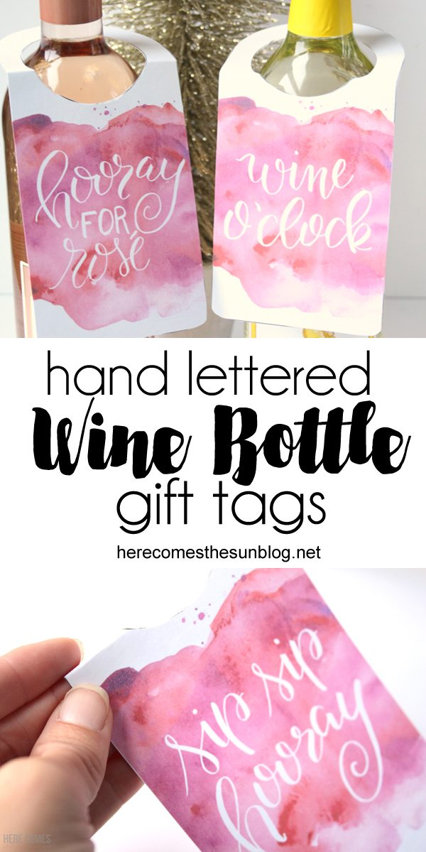 These wine bottle gift tags are perfect for holiday hostess gifts. Print, cut and attach to your favorite bottle for an instant gift.