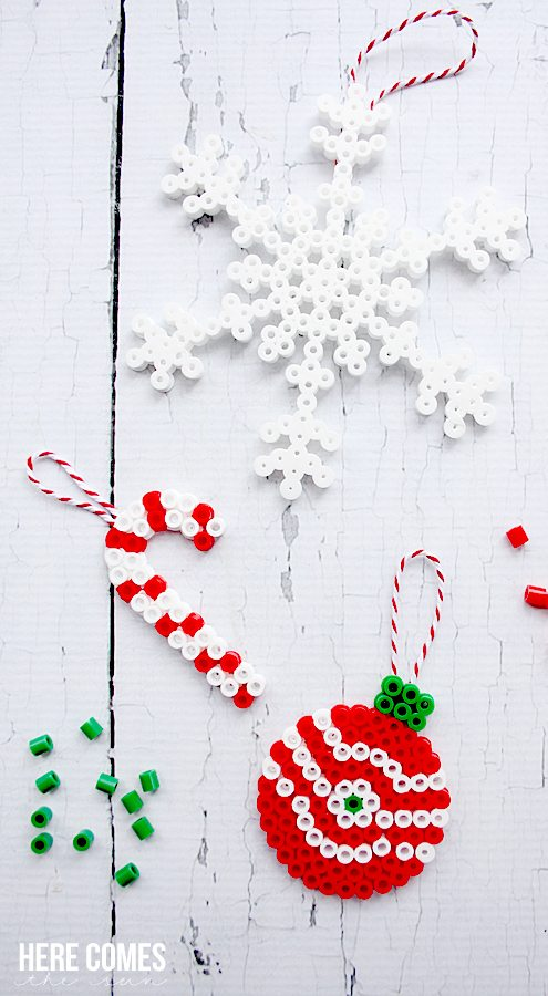 Perler bead christmas ornaments here comes the sun for Where can i get christmas decorations