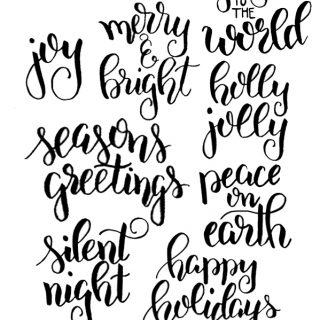 Hand Lettered Holiday Clip Art and Cut Files