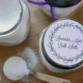 These lavender mint bath salts are inexpensive and easy to make.  The perfect gift for teachers, neighbors and friends.