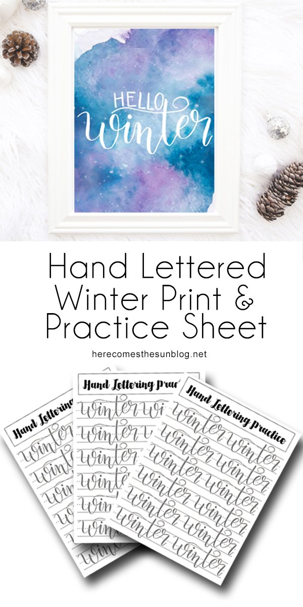 This hand lettered winter print is the perfect addition to your winter decor. Print, hang, and enjoy.