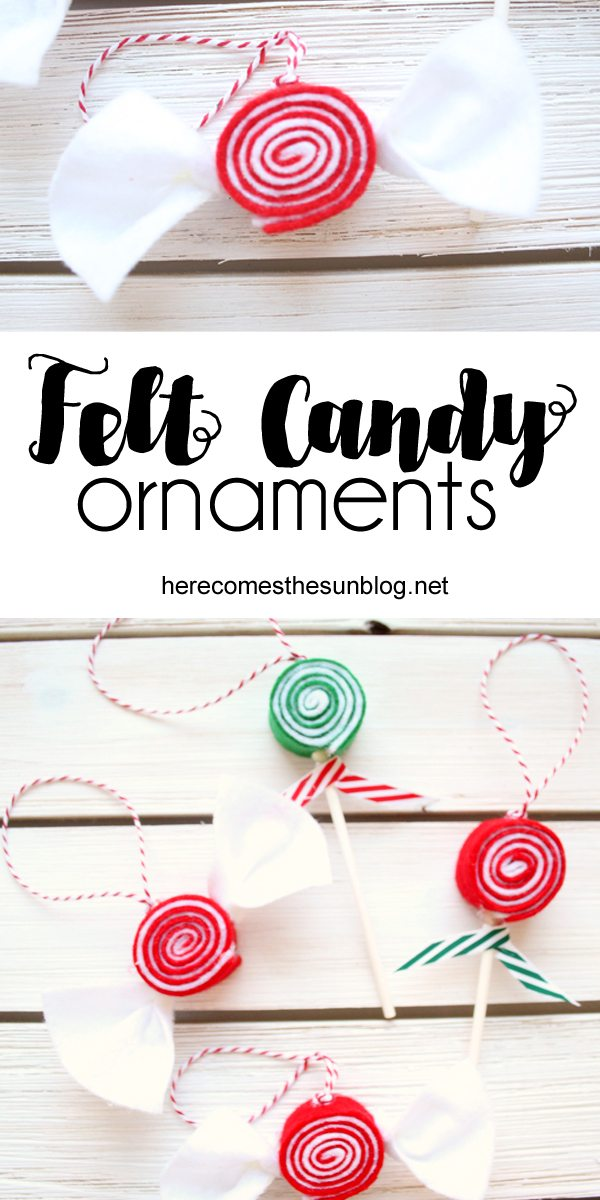 Make these felt candy ornaments for your tree this year. They only take a few simple supplies and are very easy to make.