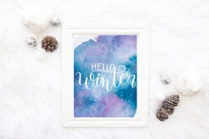 Hand Lettered Winter Print and Practice Sheet