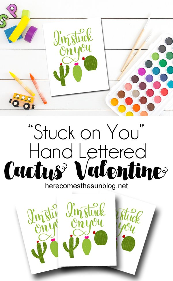These hand lettered cactus valentines are sure to be a favorite with the kids. Free printable! Just download and print!