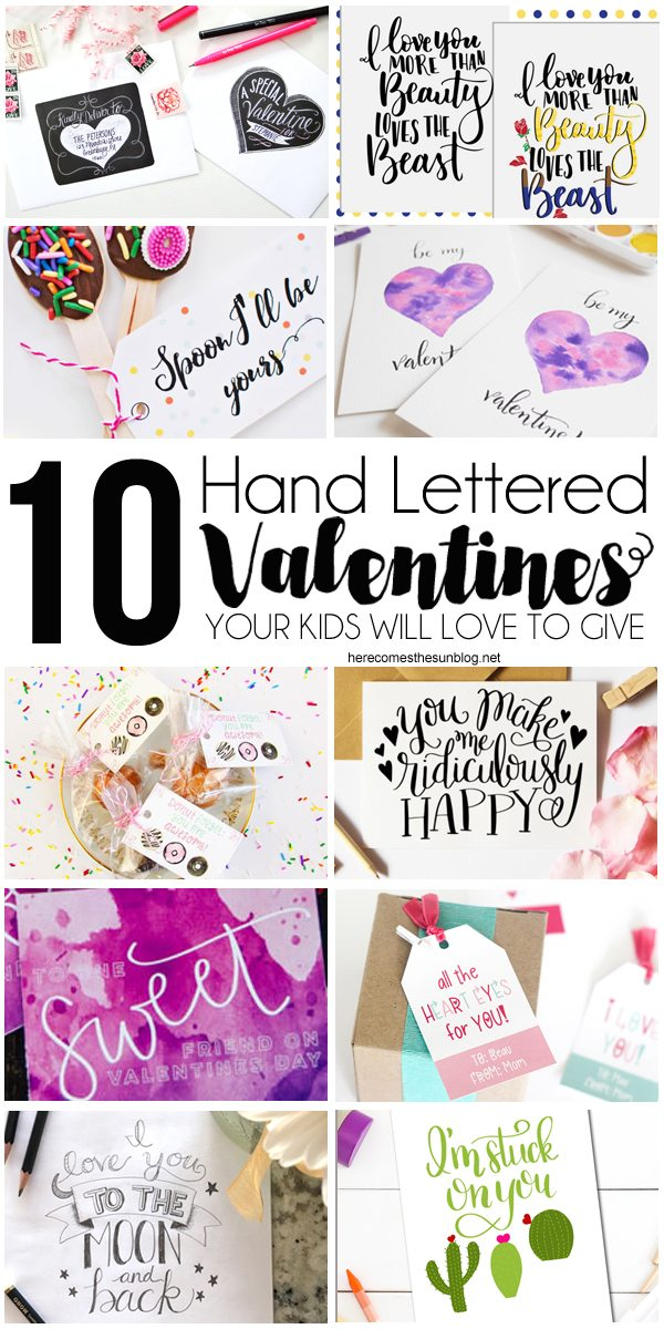 These hand lettered valentines are so unique and fun your kid will love to give them to friends.