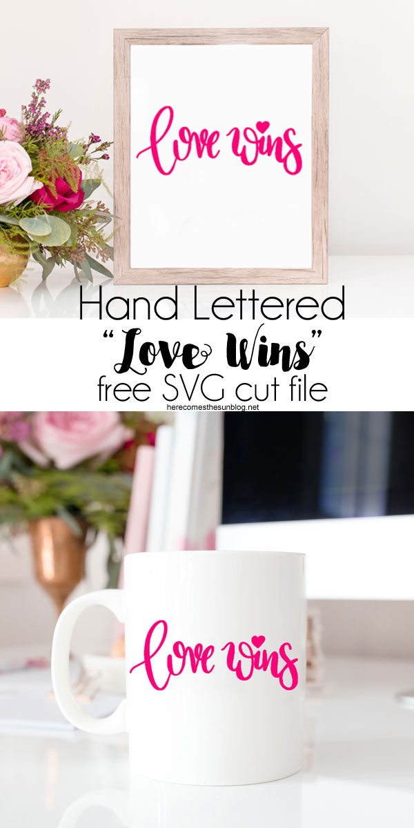 Use this Love Wins cut file anywhere you want to display this important message. Simply cut out using a Silhouette or Cricut.