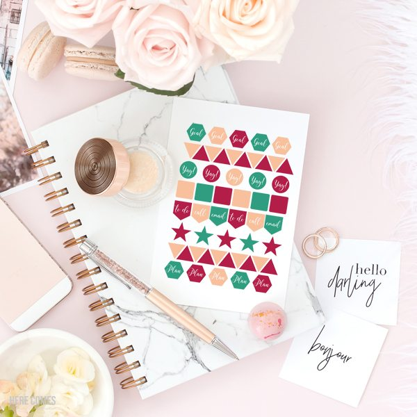 These printable planner stickers are sure to keep you organized and on track! Just print and cut with Silhouette, Cricut or scissors.