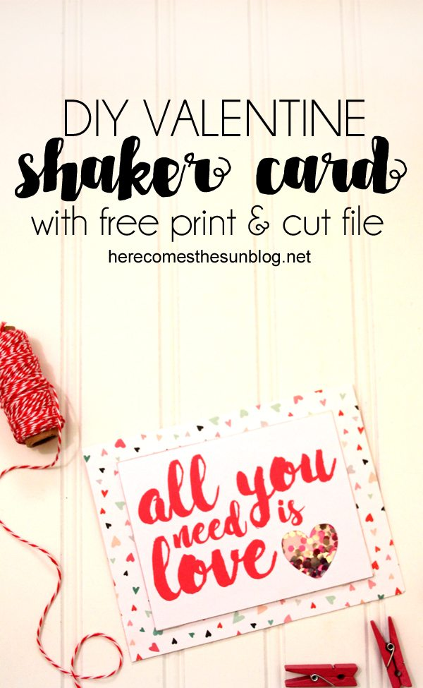This valentine shaker card is easy to make with this free cut file. I love making valentine crafts. I don't know what it is about all the red and pink but it puts me in a good mood. Shaker cards are so much fun. It's like a little surprise in every card. Making a valentine shaker card is really easy and I've even got a free cut file that you can use. This post contains affiliate links. You can read my disclosure policy here. HOW TO MAKE A VALENTINE SHAKER CARD SUPPLIES Cardstock Patterned paper Silhouette or Cricut Paper cutter or scissors Glitter Adhesive Dimensional mounting tape Free cut file Acetate DIRECTIONS Decide what size you want your card. I made mine ?//. Cut your cardstock to that size and fold in half. Cut a piece of pattern paper to fit onto the front of your card Download the print and cut file. Print it on your printer and then cut it out with your Silhouette or Cricut. For an in-depth print and cut tutorial, click here. Place a piece of acetate over the cut out heart shape, adhering it with adhesive. Place the dimensional mounting tape around the heart. Place glitter onto the acetate Place a second piece of cardstock onto the mounting tape. Place the entire piece onto the front of the card. If you are a more visual person, I've put together a short video to show you how to make the valentine shaker card. By using the print and cut file, you can make a lot of these cards very quickly. LOVE IT? PIN IT! For more Valentine cards, check out these posts: Hand stamped valentine card Click here for all my valentine posts