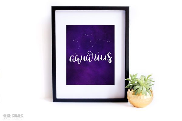 This hand lettered constellation print is the perfect addition to a nursery or space themed room