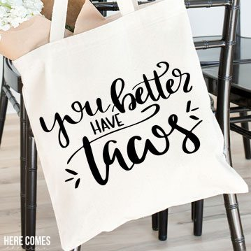 Use this cute hand lettered tacos cut file to display your love of tacos! Free cut file download for Silhouette or Cricut!
