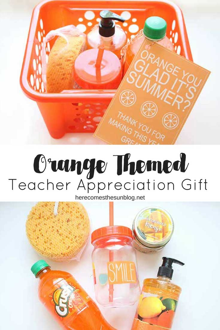 orange themed teacher appreciation gift