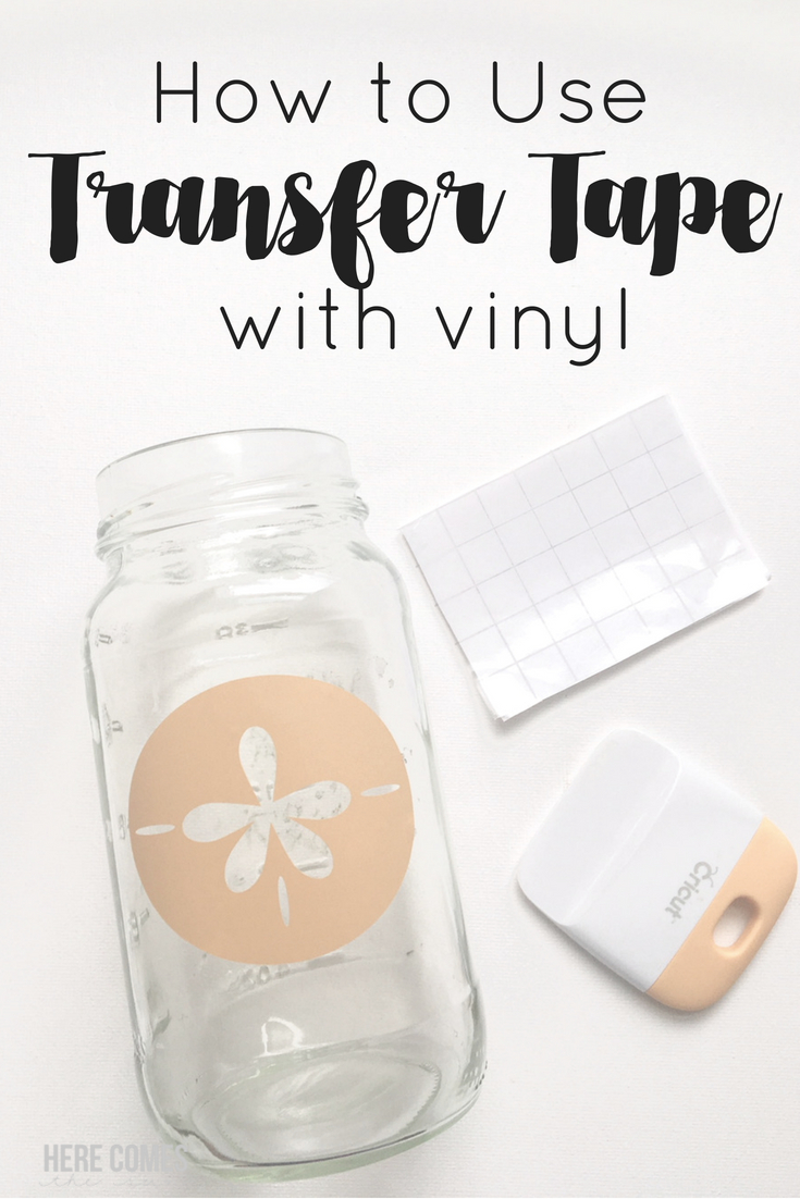 mason jar with vinyl and transfer tape