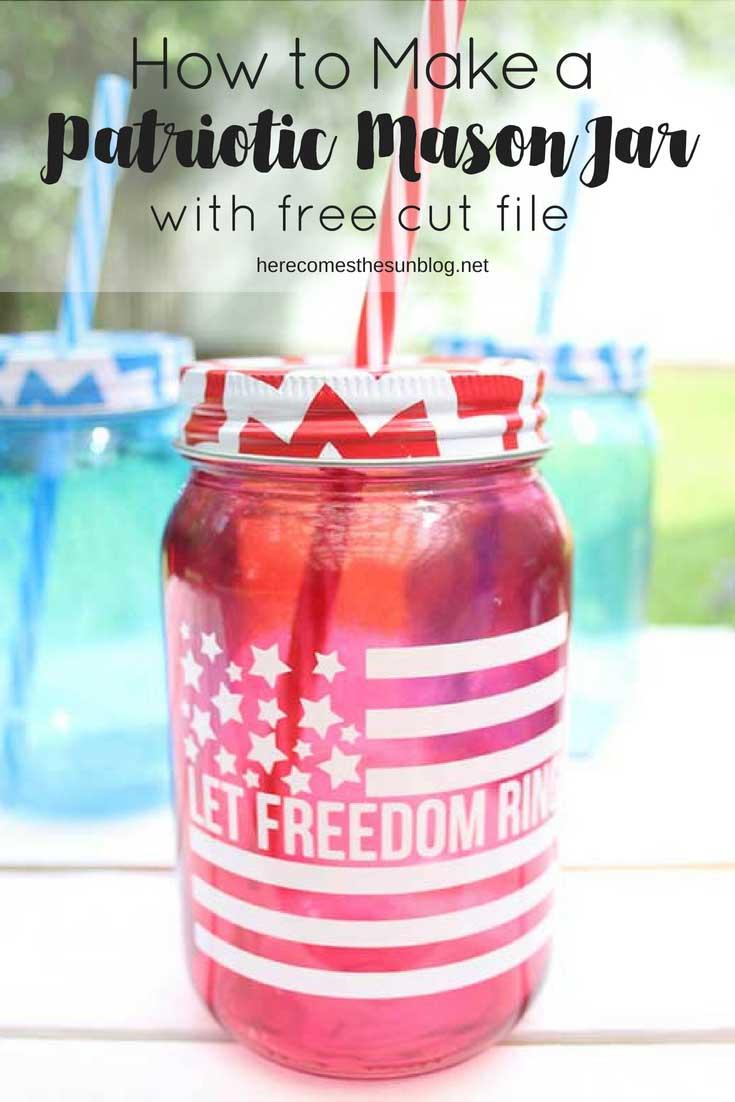 DIY patriotic mason jar with vinyl