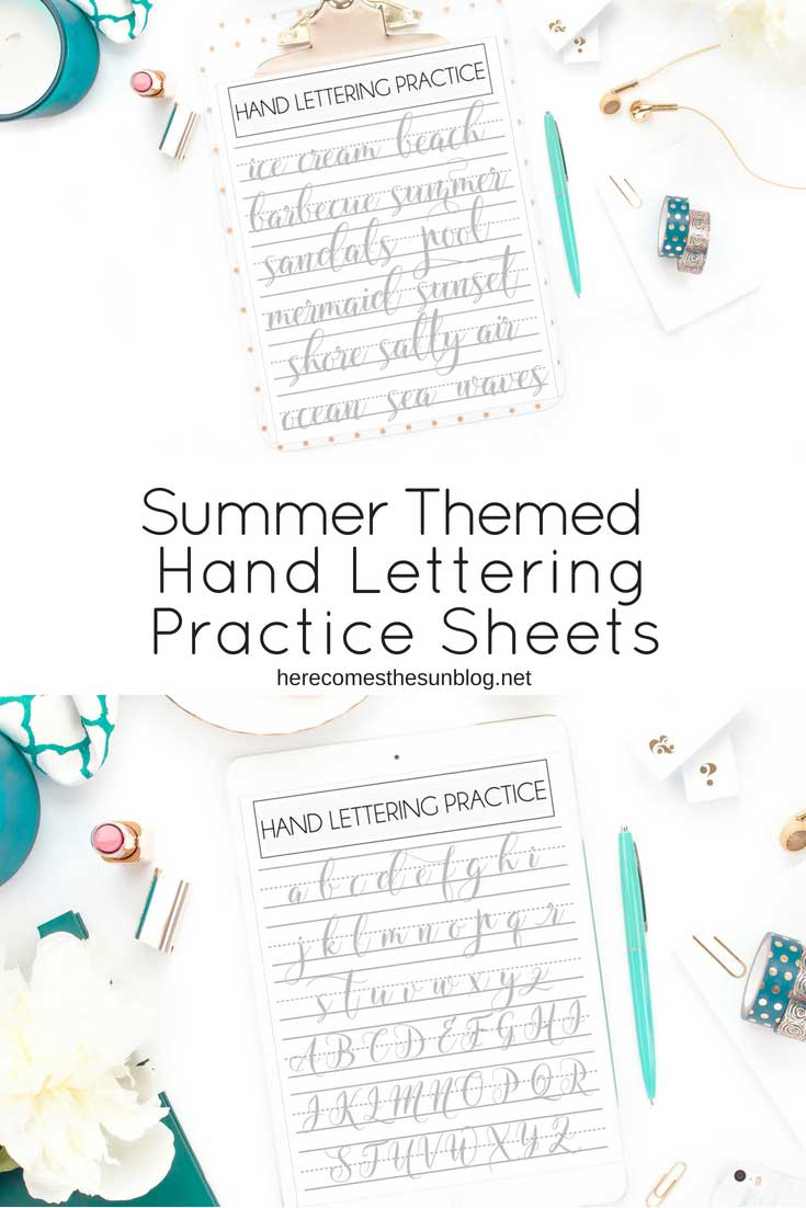 summer themed hand lettering practice sheets
