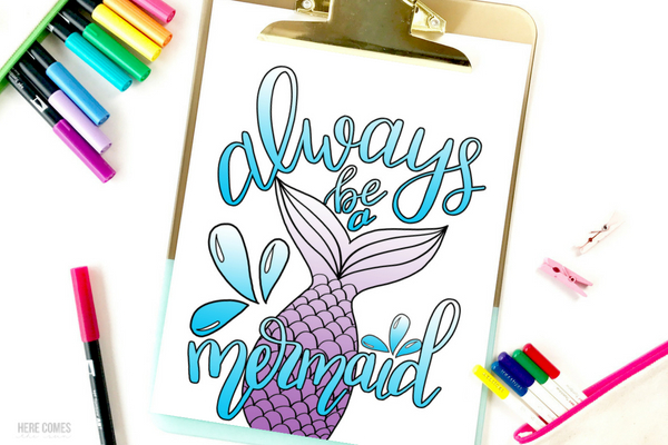 hand lettered mermaid coloring page