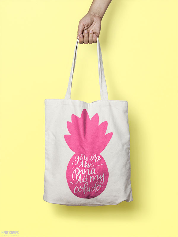 pink pineapple print on a bag