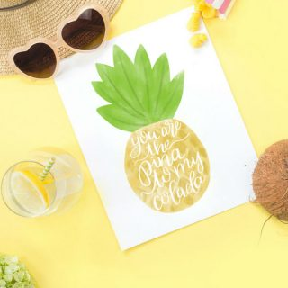 Hand Lettered Watercolor Pineapple Print and SVG File