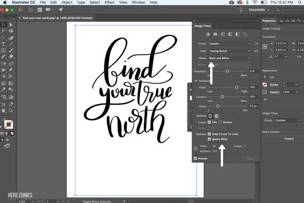 vectorize hand lettering on computer screen