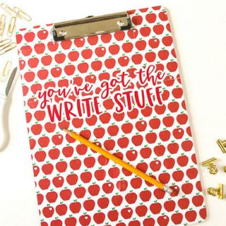 "Clipboard Teacher Gift – ""You've Got the Write Stuff"""
