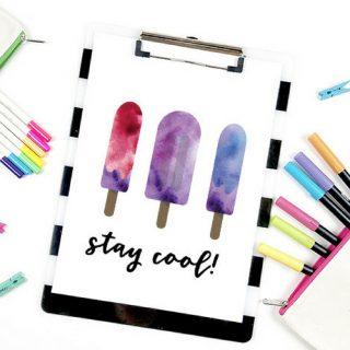 Watercolor Popsicle Clip Art