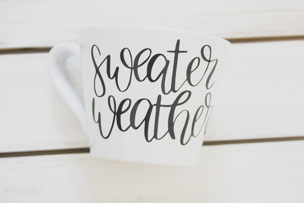 hand lettered fall mug