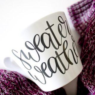 How to Create a Hand Lettered Fall Mug