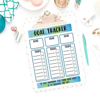 Goal Tracking Printable and Motivational Print