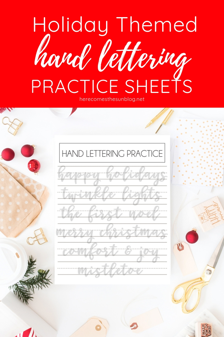 holiday hand lettering practice sheets