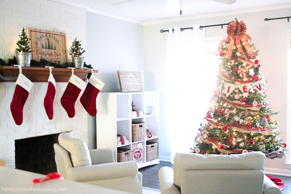 rustic christmas tree in room