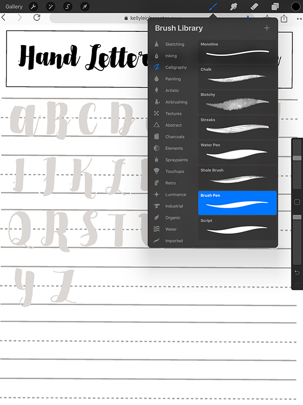 hand lettering practice sheets in procreate app
