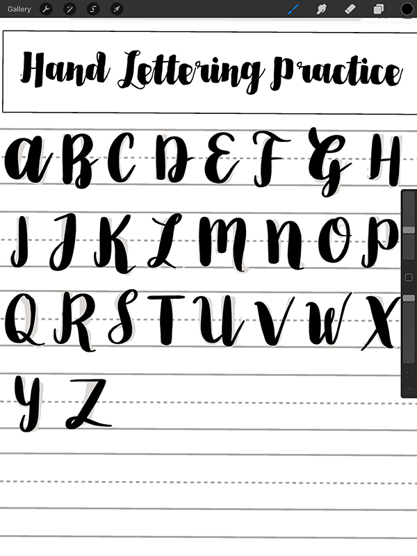 use hand lettering practice sheets in procreate