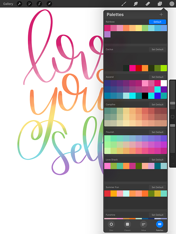 rainbow lettering on ipad with color palette