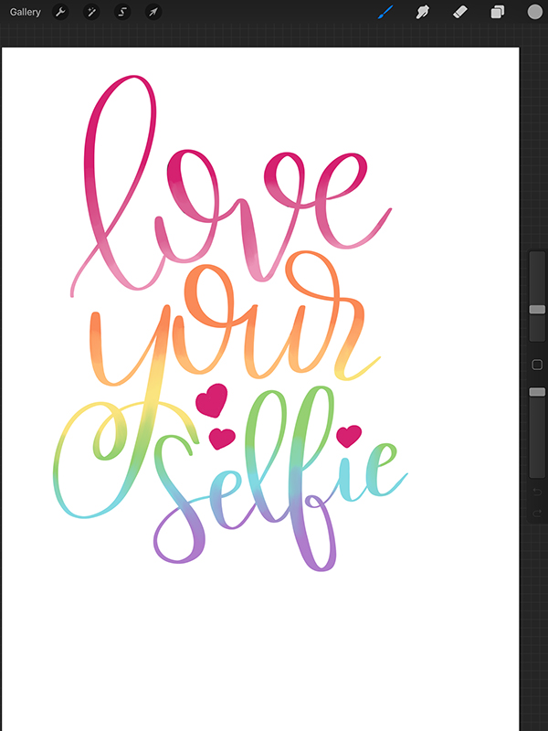 rainbow lettering in procreate tutorial