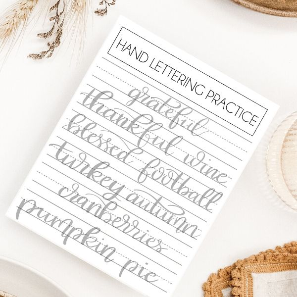 thanksgiving hand lettering practice sheets