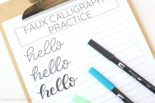 faux calligraphy practice
