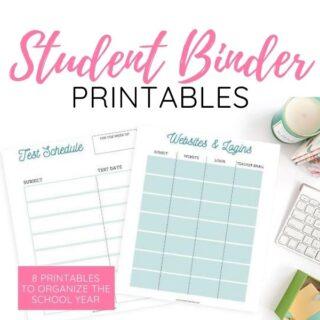 student binder printables