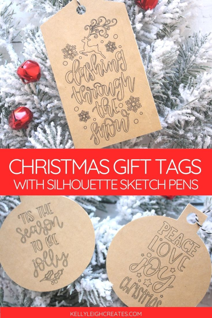 gift tags with Silhouette sketch pens