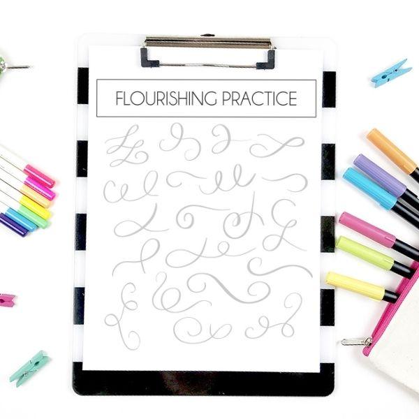 flourishing practice sheets