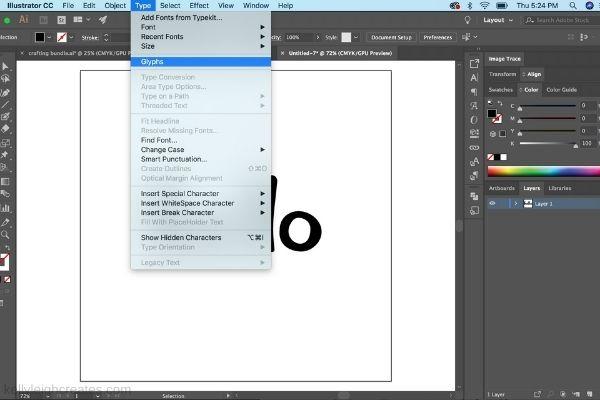 accessing glyphs in illustrator
