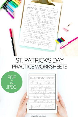 st. patrick's day lettering practice