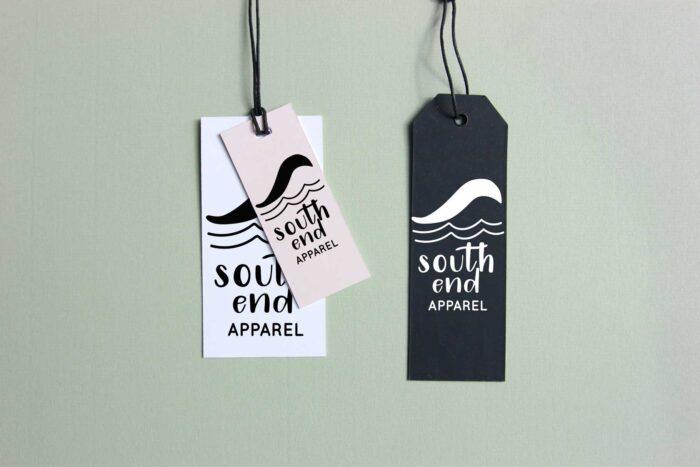 clothing tags using mojito handwritten font