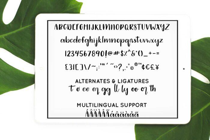 mojito handwritten font characters